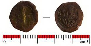 Бронзова монета на византийския император Йоан ІІ Комнин (1118-1143)