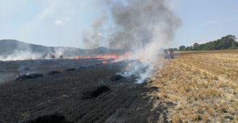 Искра от балеровачка изгори 40 дка стърнища и стотици бали слама между Свиленград и Любимец