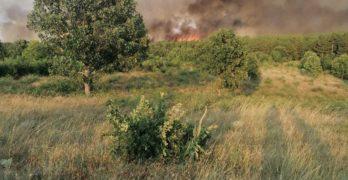 Пожарът между Планиново и Устрем продължава да бушува